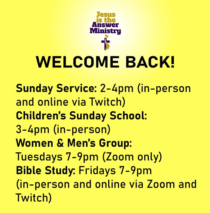 Welcome Back! In-Person Church Services are back
